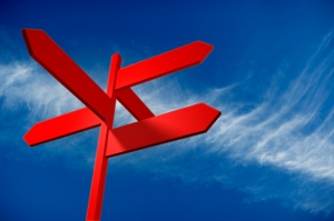 Cirrus clouds and a blank directional sign. with Clipping PATH